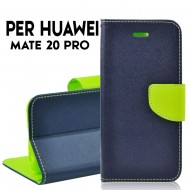 Custodia cover per Huawei Mate 20 Pro slim luxury a libro-portafoglio stand case interno in tpu Blu-Lime