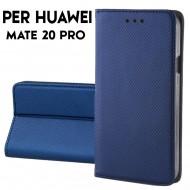 Custodia a libro per Huawei Mate 20 Pro Blu STAND CASE INTERNO TPU CHIUSURA MAGNETICA