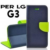 Custodia per LG G3 cover slim luxury a libro/portafoglio  stand case interno in tpu Blu/Lime