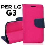 Custodia per LG G3 cover slim luxury a libro/portafoglio  stand case interno in tpu Rosa-Blu