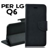 Custodia per LG Q6 cover slim luxury a libro-portafoglio  stand case interno in tpu Nero