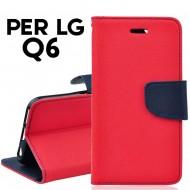 Custodia per LG Q6 cover slim luxury a libro-portafoglio  stand case interno in tpu Rosso-Blu