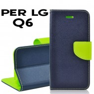 Custodia per LG Q6 cover slim luxury a libro/portafoglio  stand case interno in tpu Blu-Lime