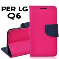 Custodia per LG Q6 cover slim luxury a libro/portafoglio  stand case interno in tpu Rosa-Blu