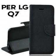 Custodia per LG Q7 cover slim luxury a libro-portafoglio  stand case interno in tpu Nero
