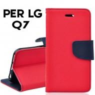Custodia per LG Q7 cover slim luxury a libro-portafoglio  stand case interno in tpu Rosso-Blu