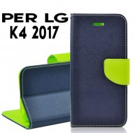 Custodia per LG K4 2017 cover slim luxury a libro/portafoglio  stand case interno in tpu Blu-Lime