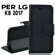 Custodia cover Per LG K8 2017 nera ,slim luxury a libro/portafoglio stand case interno in tpu