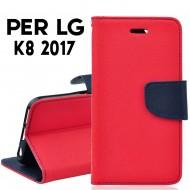 Custodia cover Per LG K8 2017 Rosso-Blu ,slim luxury a libro/portafoglio stand case interno in tpu