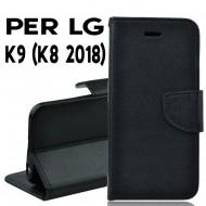 Custodia cover Per LG K9 (K8 2018) nera ,slim luxury a libro/portafoglio stand case interno in tpu
