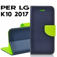 Custodia cover Per LG K10 2017 Blu-Lime ,slim luxury a libro/portafoglio stand case interno in tpu