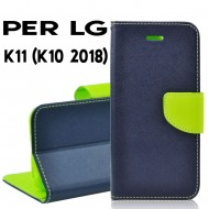 Custodia cover Per LG K11 (K10 2018) Blu-Lime ,slim luxury a libro/portafoglio stand case interno in tpu