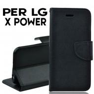 Custodia cover Per LG X POWER Nero ,slim luxury a libro/portafoglio stand case interno in tpu