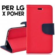 Custodia cover Per X POWER Rosso-blu ,slim luxury a libro/portafoglio stand case interno in tpu