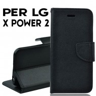 Custodia cover Per LG X POWER 2 Nero ,slim luxury a libro/portafoglio stand case interno in tpu
