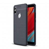 Custodia per Xiaomi S2 Cover tpu paraurti modello Litchi pattern BLU