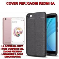 Custodia per Redmi 5A Cover tpu paraurti modello Litchi pattern NERO