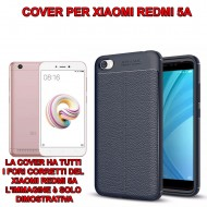 Custodia per Xiaomi Redmi 5A Cover tpu paraurti modello Litchi pattern BLU