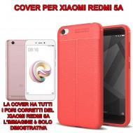 Custodia per Xiaomi Redmi 5A Cover tpu paraurti modello Litchi pattern Rosso