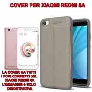 Custodia per Xiaomi Redmi 5A Cover tpu paraurti modello Litchi pattern Grigio