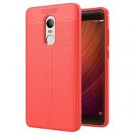 Custodia per Xiaomi Redmi 4X Cover tpu paraurti modello Litchi pattern Rosso