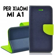Custodia cover Per Xiaomi Redmi A1 Blu-Lime ,slim luxury a libro/portafoglio stand case interno in tpu