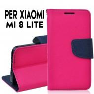 Custodia cover Per Xiaomi Mi 8 Lite Rosa-blu ,slim luxury a libro/portafoglio stand case interno in tpu