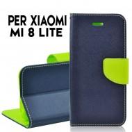 Custodia cover Per Xiaomi Mi 8 Lite Blu-Lime ,slim luxury a libro/portafoglio stand case interno in tpu
