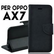 Custodia cover Per Oppo AX7 Nero a libro-portafoglio stand case interno in tpu