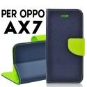 Custodia cover Per Oppo AX7 Blu-Lime a libro-portafoglio stand case interno in tpu