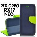 Custodia cover Per Oppo RX17 Neo Blu-Lime a libro-portafoglio stand case interno in tpu