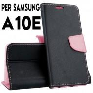 Custodia cover Per Samsung A10E Nero-Rosa a libro-portafoglio stand case interno in tpu