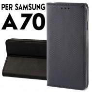 Custodia per Samsung A70 a libro - portafoglio chiusura magnetica cover tpu colore Nero