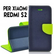 Custodia cover Per Xiaomi S2 Blu-Lime slim luxury a libro-portafoglio stand case interno in tpu