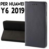 Custodia per Huawei Y6 2019 a libro - portafoglio chiusura magnetica cover tpu colore Nero
