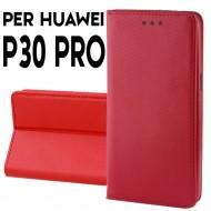 Custodia a libro per Huawei P30 Pro ROSSO STAND CASE INTERNO TPU CHIUSURA MAGNETICA