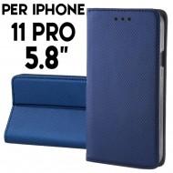 Custodia per iphone 11 Pro Blu a libro - portafoglio chiusura magnetica cover tpu