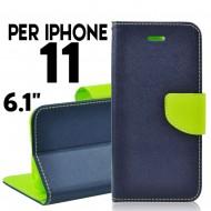 custodia per Iphone 11 cover libro portafoglio chiusura magnetica porta carte Blu-Lime