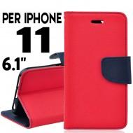 custodia per Iphone 11 cover libro portafoglio chiusura magnetica porta carte Rosso-Blu