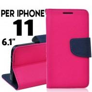custodia per Iphone 11 cover libro portafoglio chiusura magnetica porta carte Rosa-Blu
