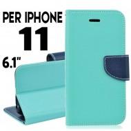 custodia per Iphone 11 cover libro portafoglio chiusura magnetica porta carte Verde-Blu