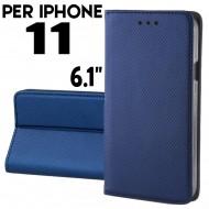 Custodia per iphone 11 Blu a libro - portafoglio chiusura magnetica cover tpu