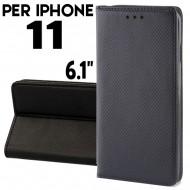 Custodia per iphone 11 Nero a libro - portafoglio chiusura magnetica cover tpu