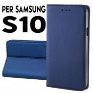 Custodia cover Per Samsung S10 Blu a libro-portafoglio stand case interno in tpu