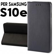 Custodia cover Per Samsung S10e Nero a libro-portafoglio stand case interno in tpu