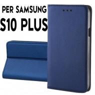 Custodia cover Per Samsung S10 Plus Blu a libro-portafoglio stand case interno in tpu