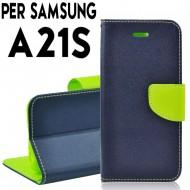 Custodia cover Per Samsung A21S Blu-Lime a libro-portafoglio stand case interno in tpu
