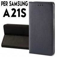 Custodia per Samsung A21S a libro - portafoglio chiusura magnetica cover tpu colore Nero