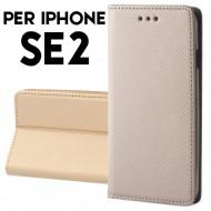 Custodia per iphone SE2 2020 Oro a libro - portafoglio chiusura magnetica cover tpu