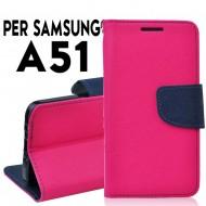 Custodia Per Samsung A51 Rosa-Blu cover a libro-portafoglio stand case interno in tpu